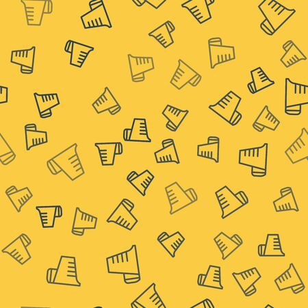 Blue line Measuring cup to measure dry and liquid food icon isolated seamless pattern on yellow background. Plastic graduated beaker with handle. Vector Illustration