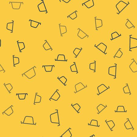 Blue line Cooking pot icon isolated seamless pattern on yellow background. Boil or stew food symbol. Vector Illustration