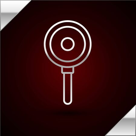 Silver line Frying pan icon isolated on dark red background. Fry or roast food symbol. Vector Illustration Illustration
