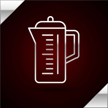 Silver line Teapot icon isolated on dark red background. Vector Illustration