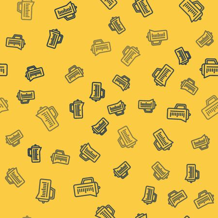 Blue line Teapot icon isolated seamless pattern on yellow background. Vector Illustration  イラスト・ベクター素材