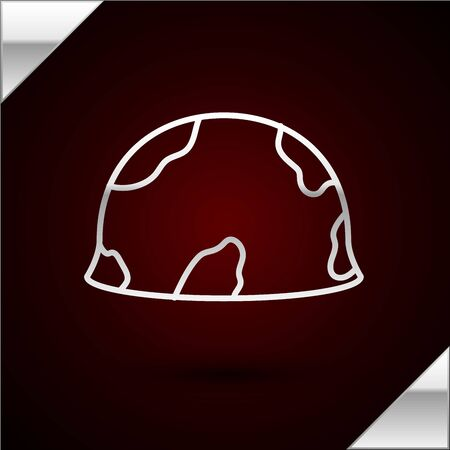 Silver line Military helmet icon isolated on dark red background. Army hat symbol of defense and protect. Protective hat. Vector Illustration