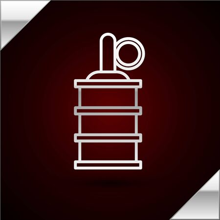 Silver line Hand grenade icon isolated on dark red background. Bomb explosion. Vector Illustration