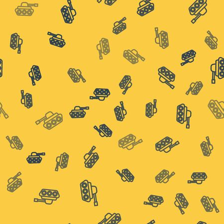 Blue line Military tank icon isolated seamless pattern on yellow background. Vector Illustration