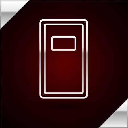 Silver line Police assault shield icon isolated on dark red background. Vector Illustration