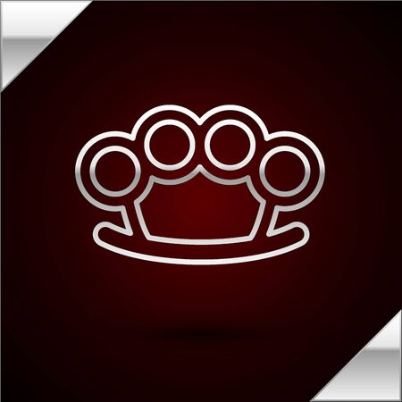 Silver line Brass knuckles icon isolated on dark red background. Vector Illustration Vettoriali