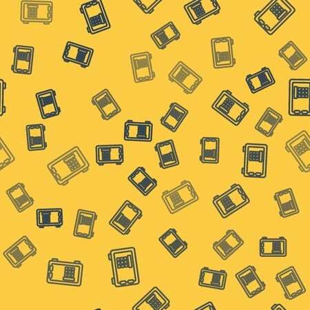 Blue line Safe icon isolated seamless pattern on yellow background. The door safe a bank vault with a combination lock. Reliable Data Protection. Vector Illustration