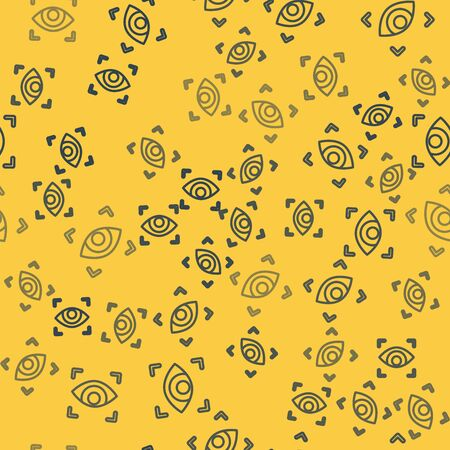 Blue line Eye scan icon isolated seamless pattern on yellow background. Scanning eye. Security check symbol. Cyber eye sign. Vector Illustration