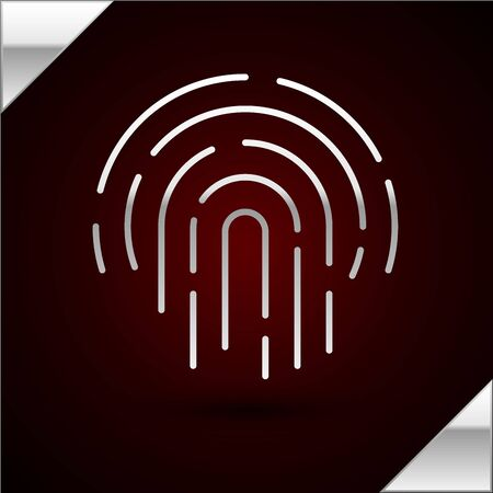 Silver line Fingerprint icon isolated on dark red background. ID app icon. Identification sign. Touch id. Vector Illustration Illustration