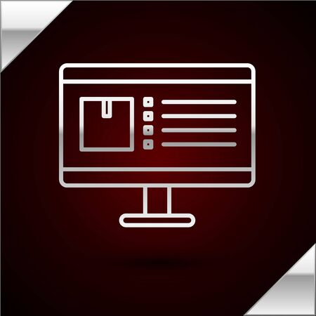 Silver line Computer monitor with app delivery tracking icon isolated on dark red background. Parcel tracking. Vector Illustration