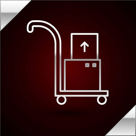 Silver line Hand truck and boxes icon isolated on dark red background. Dolly symbol. Vector Illustration Stock Illustratie