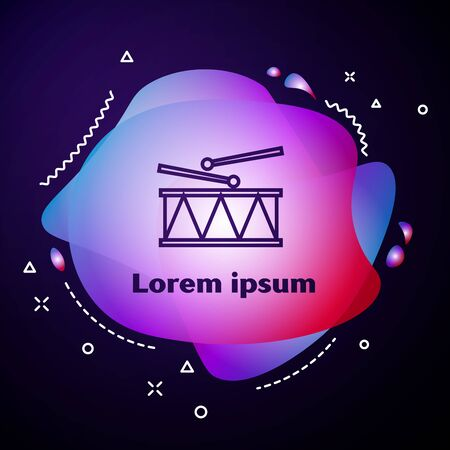 Purple line Musical instrument drum and drum sticks icon isolated on dark blue background. Abstract banner with liquid shapes. Vector Illustration