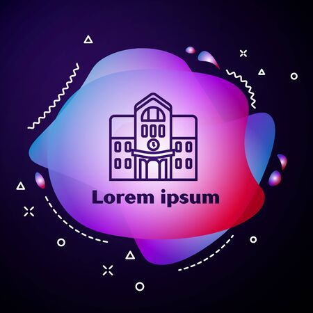 Purple line School building icon isolated on dark blue background. Abstract banner with liquid shapes. Vector Illustration Illustration