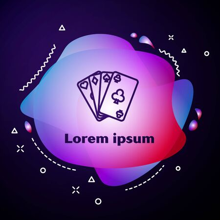 Purple line Playing cards icon isolated on dark blue background. Casino gambling. Abstract banner with liquid shapes. Vector Illustration