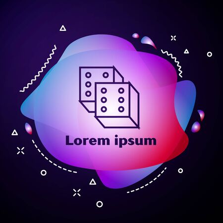 Purple line Game dice icon isolated on dark blue background. Casino gambling. Abstract banner with liquid shapes. Vector Illustration