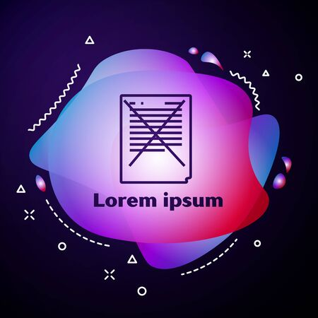 Purple line Exam paper with incorrect answers survey icon on dark blue background. Bad mark of test results, concept of unsuccessful report. Abstract banner with liquid shapes. Vector Illustration