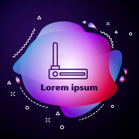 Purple line Router and wifi signal symbol icon isolated on dark blue background. Wireless modem router. Computer technology internet. Abstract banner with liquid shapes. Vector Illustration