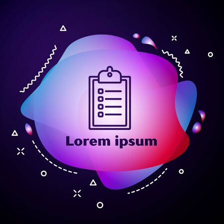 Purple line Verification of delivery list clipboard icon isolated on blue background. Abstract banner with liquid shapes. Vector Illustration