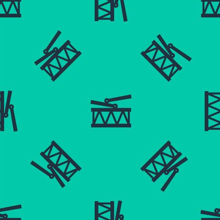 Blue line Musical instrument drum and drum sticks icon isolated seamless pattern on green background. Vector Illustration Illusztráció