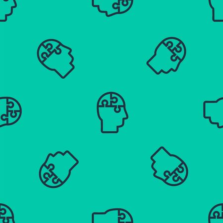 Blue line Human head puzzles strategy icon isolated seamless pattern on green background. Thinking brain sign. Symbol work of brain. Vector Illustration