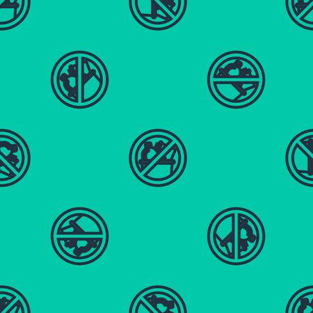 Blue line No trash icon isolated seamless pattern on green background. Vector Illustration