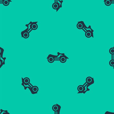 Blue line All Terrain Vehicle or ATV motorcycle icon isolated seamless pattern on green background. Quad bike. Extreme sport. Vector Illustration Vectores