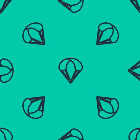 Blue line Parachute icon isolated seamless pattern on green background. Extreme sport. Sport equipment. Vector Illustration