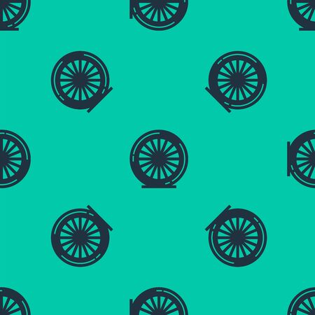 Blue line Bicycle wheel icon isolated seamless pattern on green background. Bike race. Extreme sport. Sport equipment. Vector Illustration
