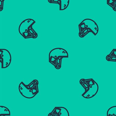 Blue line Helmet icon isolated seamless pattern on green background. Extreme sport. Sport equipment. Vector Illustration