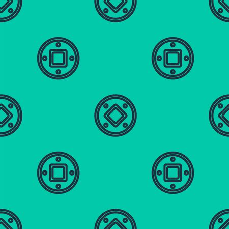 Blue line Jewish coin icon isolated seamless pattern on green background. Currency symbol. Vector Illustration