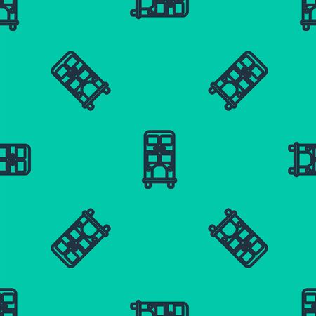Blue line Double bus icon isolated seamless pattern on green background.  Public transportation symbol. Vector Illustration Stock Illustratie