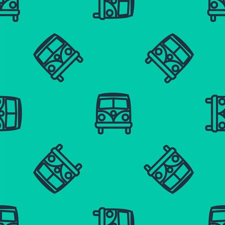 Blue line Retro minivan icon isolated seamless pattern on green background. Old retro classic traveling van. Vector Illustration
