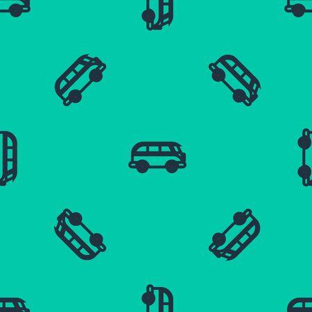 Blue line Retro minivan icon isolated seamless pattern on green background. Old retro classic traveling van. Vector Illustration