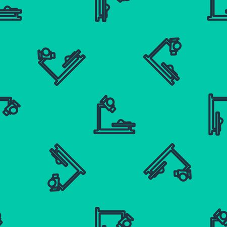 Blue line Microscope icon isolated seamless pattern on green background. Chemistry, pharmaceutical instrument, microbiology magnifying tool. Vector Illustration