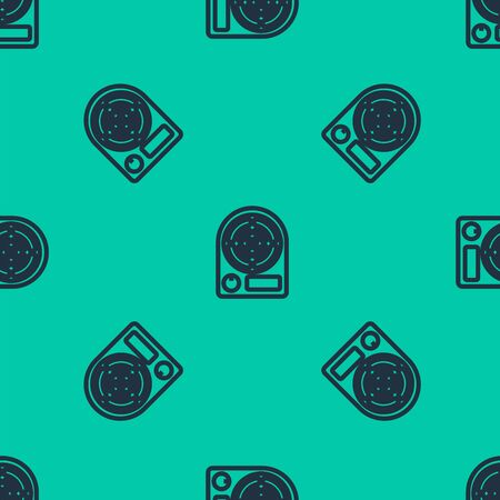 Blue line Electric heater icon isolated seamless pattern on green background. Infrared floor heater with remote control. House climate control. Vector Illustration