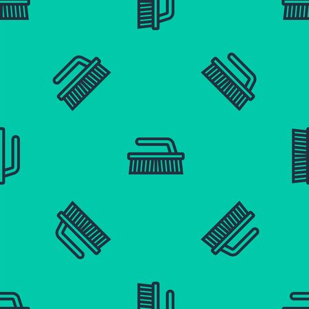 Blue line Brush for cleaning icon isolated seamless pattern on green background. Vector Illustration