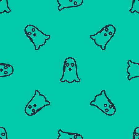 Blue line Ghost icon isolated seamless pattern on green background. Happy Halloween party. Vector Illustration