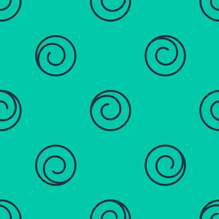 Blue line Roll bun with cinnamon icon isolated seamless pattern on green background. Bakery products. Vector Illustration