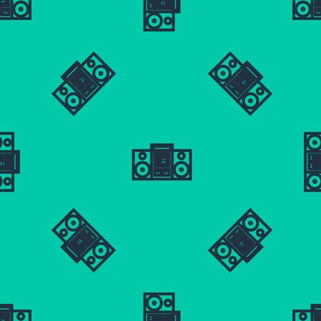Blue line Home stereo with two speakers icon isolated seamless pattern on green background. Music system. Vector Illustration Иллюстрация