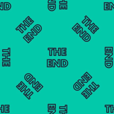 Blue line The End handwritten inscription icon isolated seamless pattern on green background. Closing movie frame. Movie ending screen. Vector Illustration Illustration