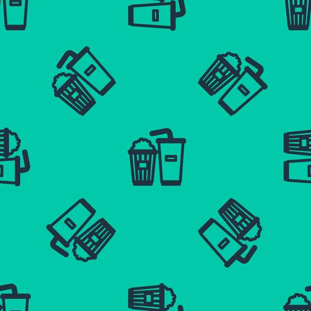 Blue line Popcorn in cardboard box and paper glass with drinking straw and water icon isolated seamless pattern on green background. Soda drink glass. Vector Illustration