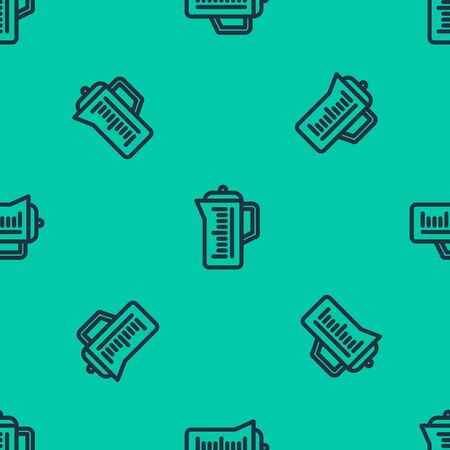 Blue line Teapot icon isolated seamless pattern on green background. Vector Illustration