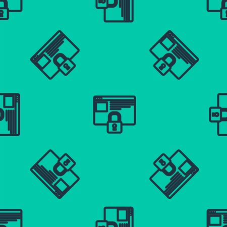 Blue line Secure your site with HTTPS, SSL icon isolated seamless pattern on green background. Internet communication protocol. Vector Illustration