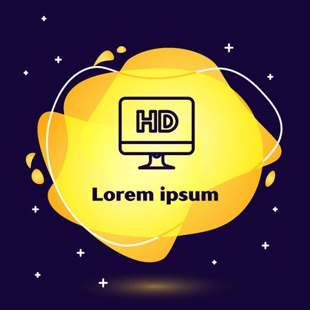 Black line Computer PC monitor display with HD video technology icon isolated on dark blue background. Abstract banner with liquid shapes. Vector Illustration 向量圖像