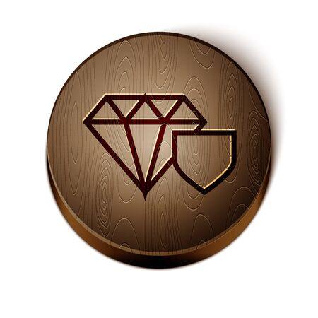 Brown line Diamond with shield icon isolated on white background. Jewelry insurance concept. Security, safety, protection, protect concept. Wooden circle button. Vector Illustration