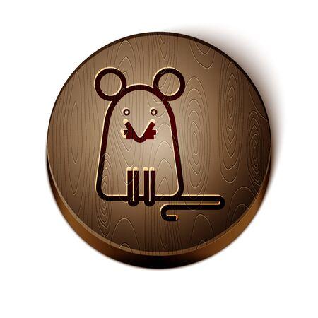 Braune Linie Rattensymbol isoliert auf weißem Hintergrund. Maus-Zeichen. Kreisknopf aus Holz. Vektorillustration