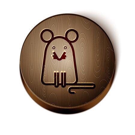 Brown line Rat icon isolated on white background. Mouse sign. Wooden circle button. Vector Illustration