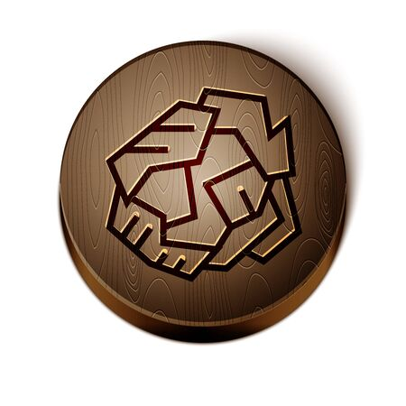 Brown line Crumpled paper ball icon isolated on white background. Wooden circle button. Vector Illustration
