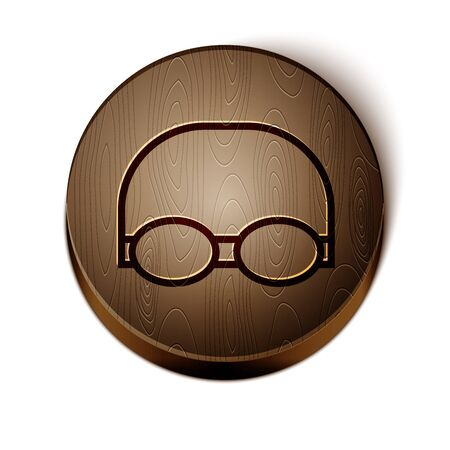 Brown line Glasses and cap for swimming icon isolated on white background. Swimming cap and goggles. Diving underwater equipment. Wooden circle button. Vector Illustration