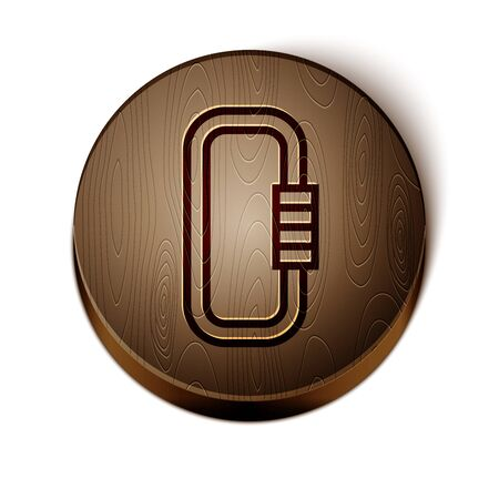 Brown line Carabiner icon isolated on white background. Extreme sport. Sport equipment. Wooden circle button. Vector Illustration